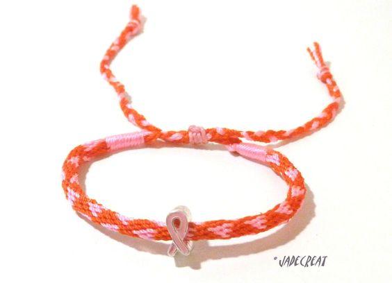 Bracelet kumihimo - Ruban Rose - Réf. Br 0209 : Bracelet par jadecreat Comme tous les ans, le mois d'octobre devient ROSE. Le Ruban Rose est aujourd'hui le symbole mondial du mois de sensibilisation à la lutte contre le cancer du sein. Ensemble portons le RUBAN ROSE.