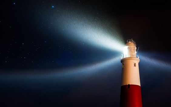 Lighthouse Night Light Stars Rain wallpaper background