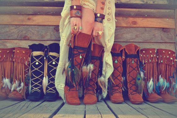 Love these boots! /// NAHIMANA MYSTIC /// Upcycled Embellished Vintage Moccasin Fringe Boot