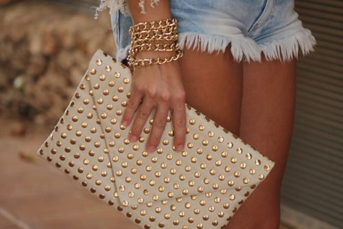 Studded envelope clutches.
