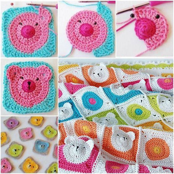 Crochet Teddy Bear Baby Blanket -- How adorable is this ...