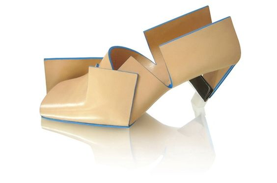 Marloes ten Bhömer design Beigefoldedshoe (above) is made from a single piece of folded leather with a stainless steel heel.