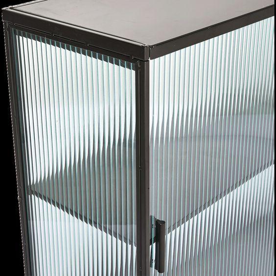 Buffet haut en métal noir et en verre - Alinéa