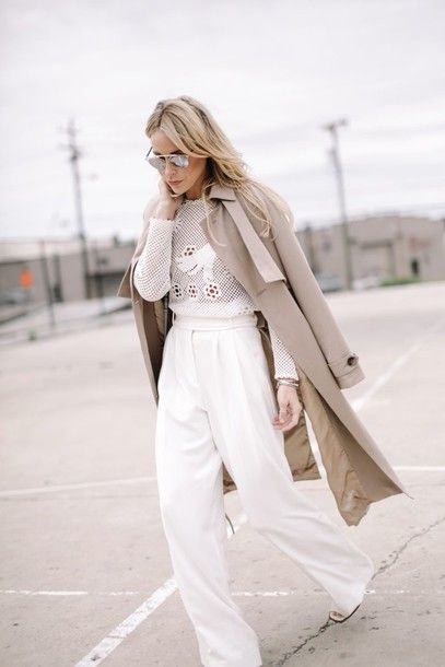 Pants: happily grey, blogger, classy, elegant, mesh top, spring outfits, wide-leg pants, white pants, white top, trench coat, beige coat, dior sunglasses - Wheretoget
