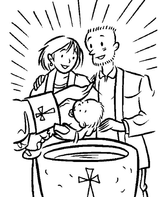 Catholic Alphabet Coloring Pages : Baptism coloring page catholic pages