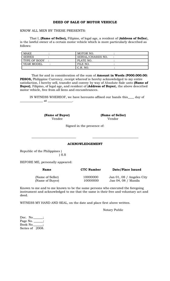 Deed Sale Motor Vehicle Template Claim Form Pdf Word Eforms Free - dmv bill of sale