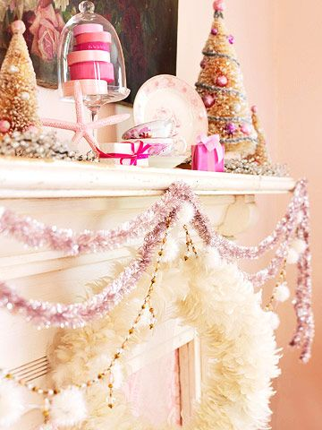 vintage pink Christmas #pink #gold #camillestyles #mantle