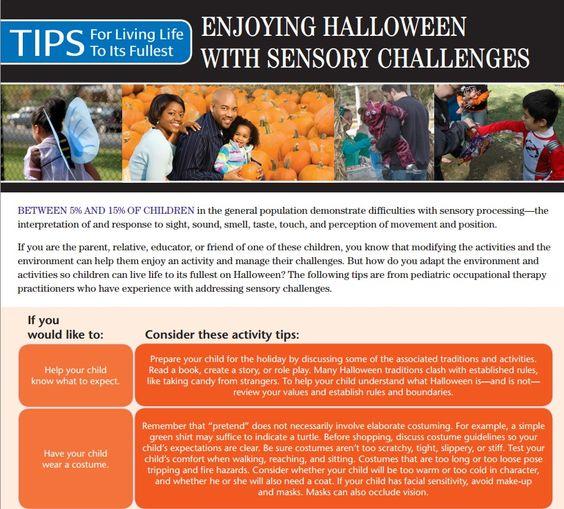 Backyard Treehouse Pediatric Therapy Center : AOTA Tip Sheet Enjoying Halloween With Sensory Challenges