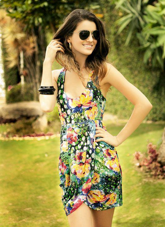 Modelado y corte costura Cleo Alves: Vestido Estampado para el verano estafa moho.