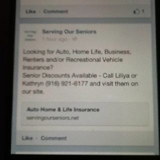 Serving Our Seniors Looking for Auto, Home, Life, many  More types of Insurance? Senior Discounts Available -Call Liliya or Kathryn -916-921-6177