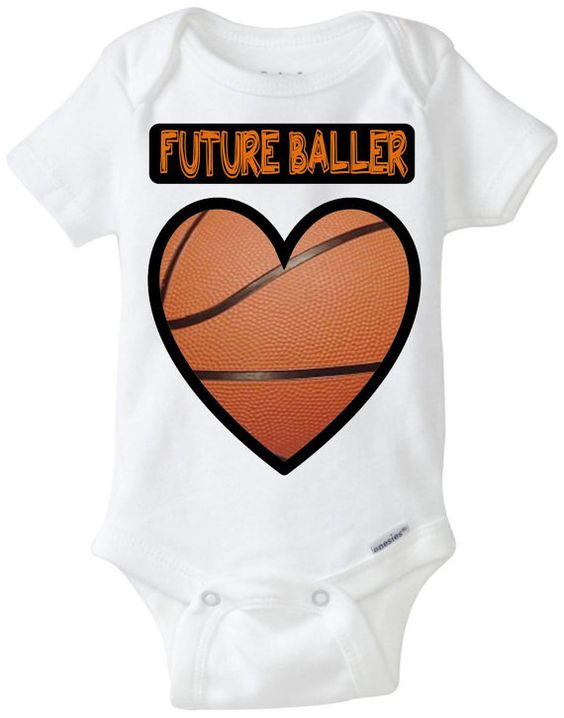 """Adorable Baby Gift: Gerber Onesie brand body suit - """"Future Baller"""" Basketball Heart Baby Shirt! Perfect outfit for the Sports Baby who loves Basketball!  Available Here: www.etsy.com/shop/LittleFroggySurfShop"""
