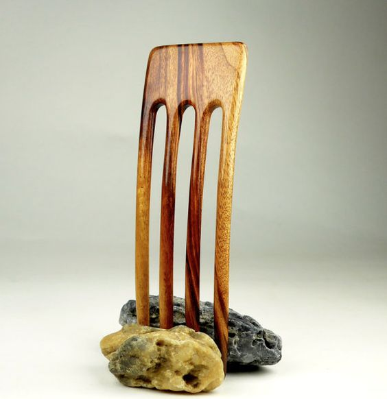 Reserved for Sara  Four Prong Hair Fork  by GoodVillageWoodcraft