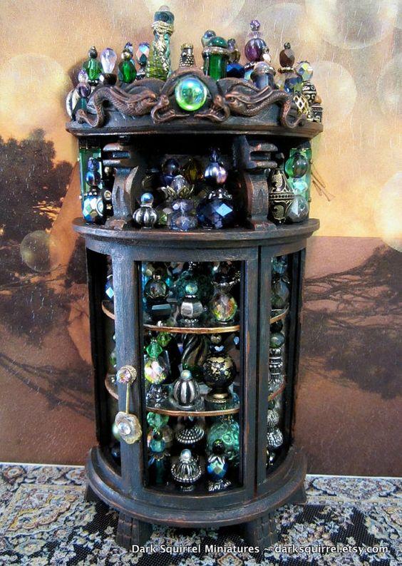 Secret Dragon ooak Potion  Cupboard in 1/12 scale by DarkSquirrel, $125.00