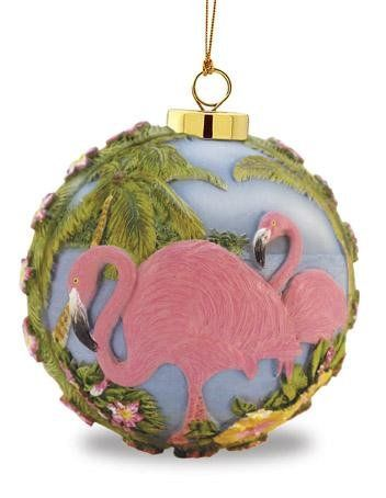 $13.88-$16.99 Pink Flamingos in Tropical Garden Holiday Christmas Ornament: