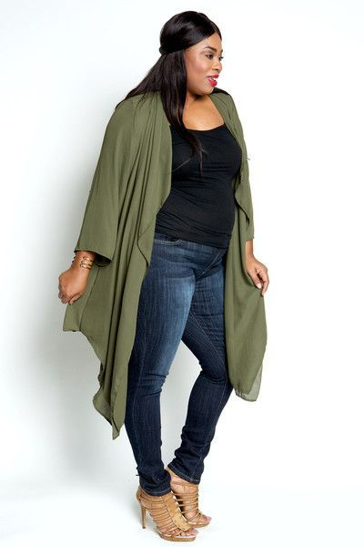 Plus Size Clothing for Women - Sheer Olive Cardigan (Sizes 12 - 18 ...