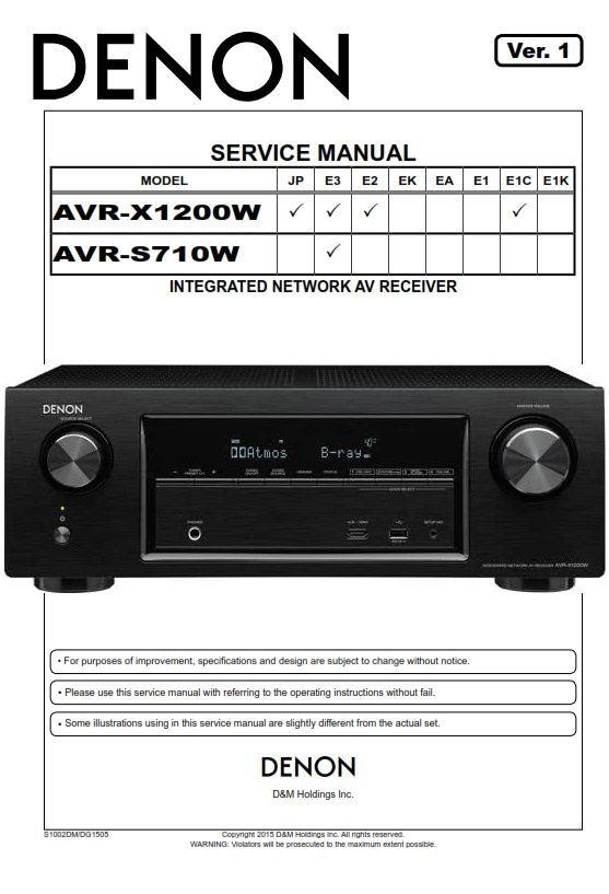 Denon Avr X1200w S710w A V Receiver Service Manual And Repair Guide Repair Guide Denon Avr Manual