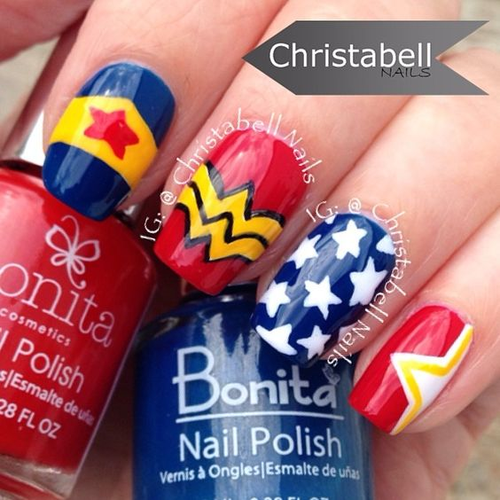 Instagram media by christabellnails - Wonder Woman  #nail #nails #nailart