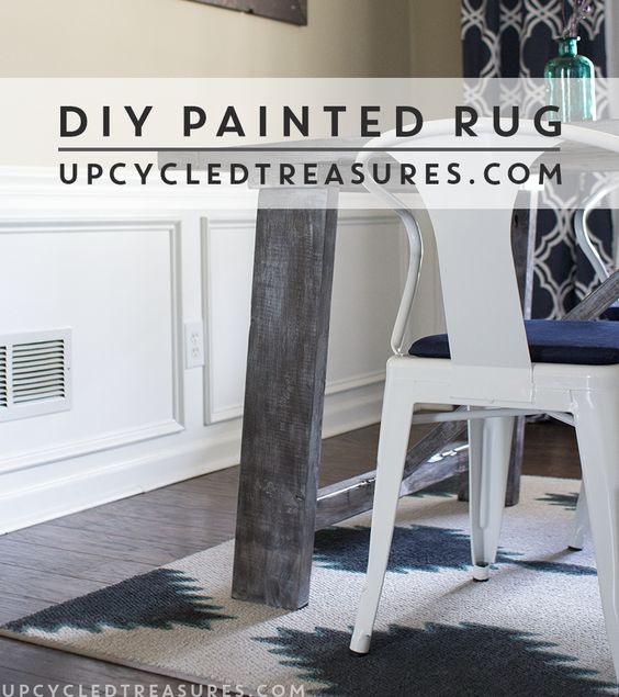 Transform a boring remnant rug with paint! Check out this Painted Rug Inspired by West Elm from UpcycledTreasures.com #DIY #rug