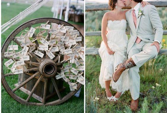 Messaggi shabby chic - Ecco raffigurato un matrimonio in campagna con una ruota di un vecchio carro che potrà essere utilizzata per raccogliere i messaggi degli amici.