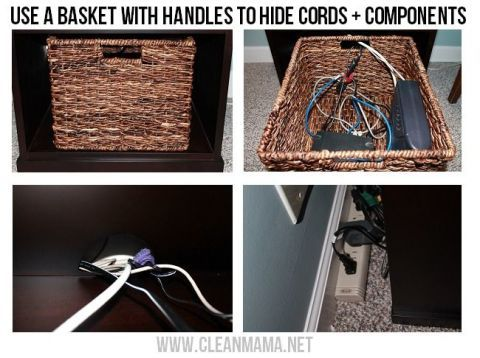 Hide your cords inside a cute wicker basket and place it under a desk or TV stand: Just bunch all the cords together with a velcro tie and string them through the basket handles in the back. Get the tutorial at Clean Mama.