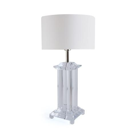 Lucite Table Lamp: Modern Silver and Clear Lucite Table Lamp with Fabric Shade,Lighting