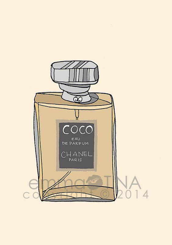 Chanel Coco Perfume Fashion Illustration Art Print by emmakisstina, kr80.00