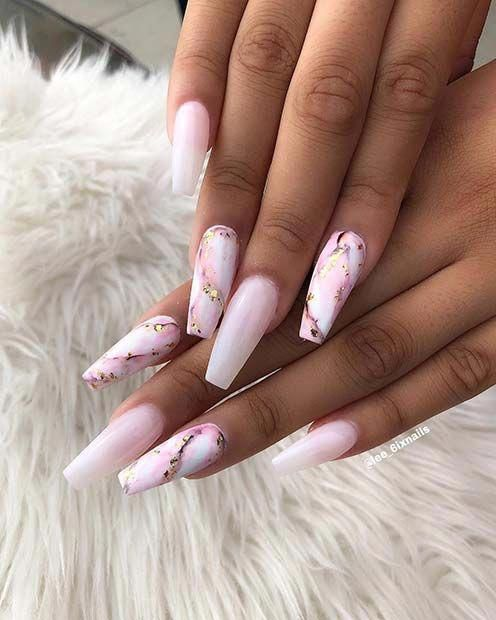 Long, Marble Coffin Nails naildesigns