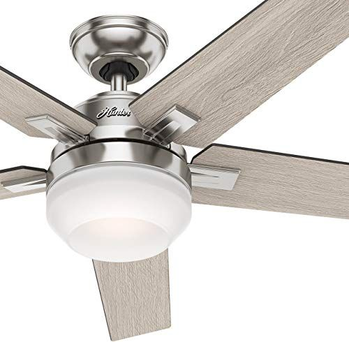 New Hunter 54inch Contemporary Indoor Ceiling Fan Light Kit Remote Control Brushed Nickel Finish Renewed Online Shopping Chicprettygoods In 2020 Contemporary Ceiling Fans Ceiling Fan Light Kit Ceiling Fan With Light