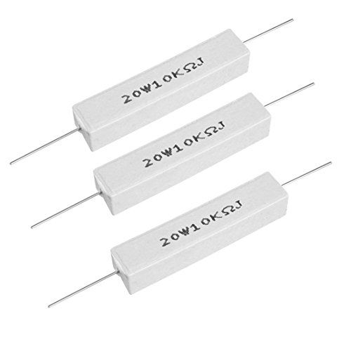 Uxcell 20w 10k Ohm Power Resistor Ceramic Cement Resistor Axial Lead White 3pcs Resistors Ohms Axial
