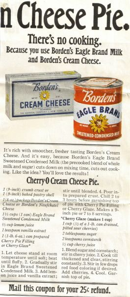 Cherry-O Cream Cheese Pie Recipe Clipping. So cool to see this ad given this recipe has been in my family since before I was born and still graces our holiday and event tables. Yours too I'm sure. Good stuff!