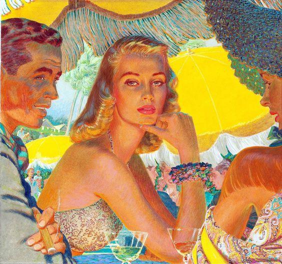 "Edwin Georgi, ""At Florida's Boca Raton Club,"" ad art for Webster Cigars, 1948..."