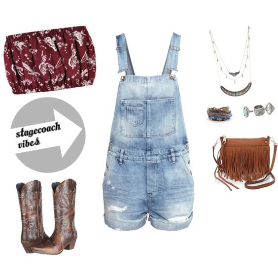 Stagecoach Vibes by legallyblondeandbrunette on Polyvore featuring For Love & Lemons, H&M, Ariat, Rebecca Minkoff, MANGO and Charlotte Russe