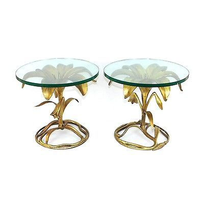 Vintage PAIR Arthur Court Gilded Cast Aluminum Lily End Tables Hollywood Regency