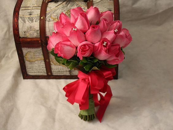 Buquê de Noiva, rosas cor de rosas