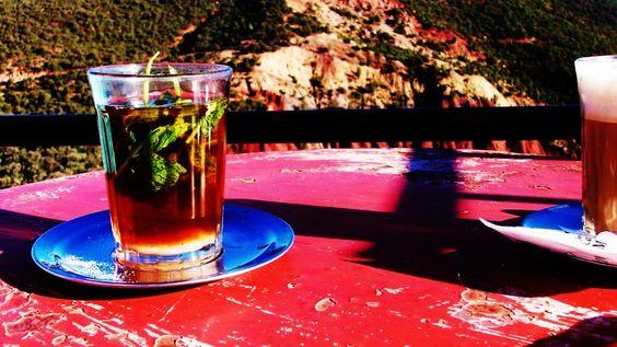 Morocco, fresh mint tea in the hills