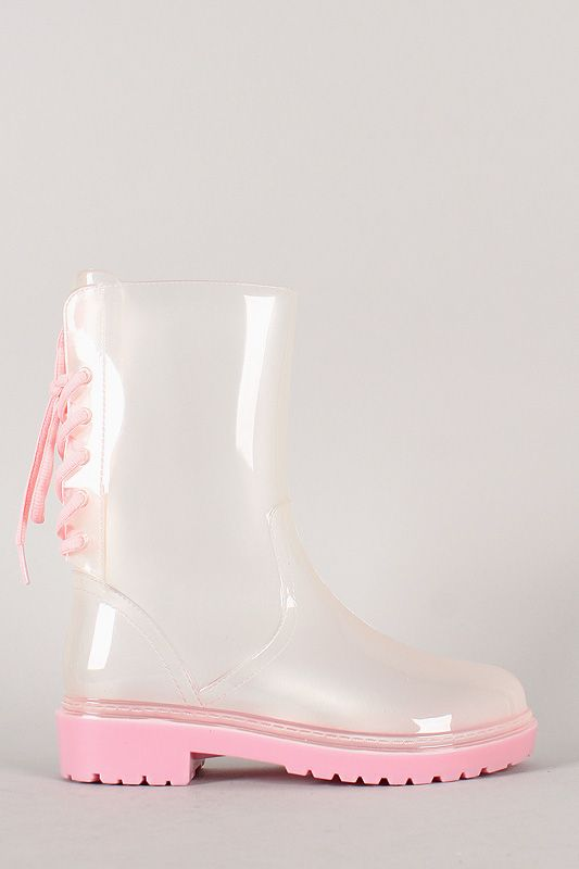 Fashion Women's PVC Jelly Clear Rain Boots Lace Up Short Martin ...