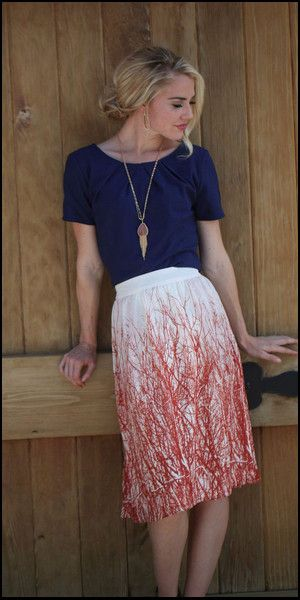 Cameron Skirt ModestPop.com - modest cream skirt with rust/red colored branch print - knee length skirt