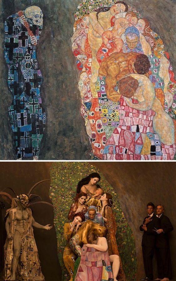 Recreó clásicas pinturas de Klimt en vida real y así resultó. No muchos aprueban sus desnudos – Upsocl