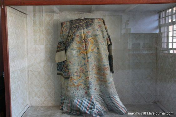 Imperial gown owned by Empress Cixi on exhibition at the Tsindunlin mausoleums.