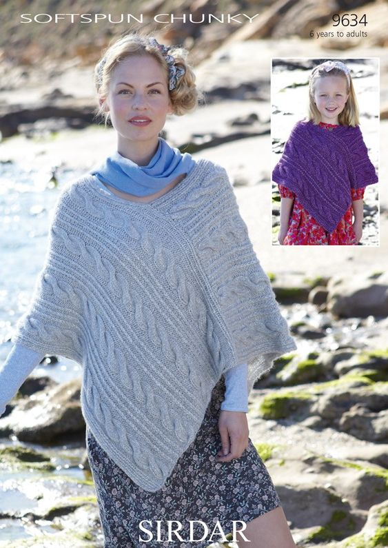 free knitted ponchos for women ... Softspun Chunky Womens & Girl