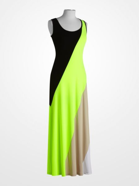 Calvin Klein Black and Yellow Colorblock Maxi Dress -neon -stripe ...