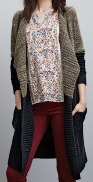 print peasant blouse with a knit long cardigan