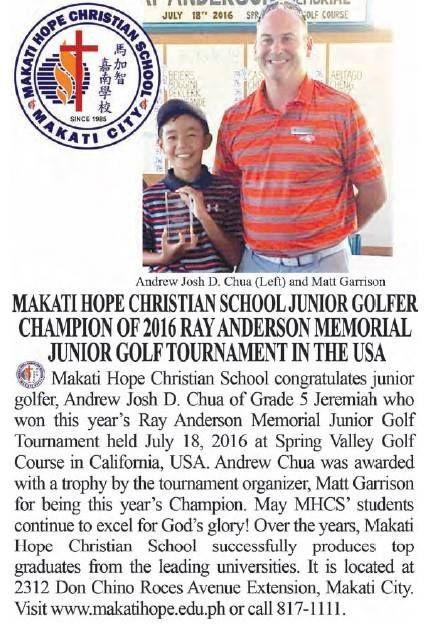 Makati Hope Christian School•Grade 5 Andrew Chua won this year's Ray Anderson Memorial Junior Golf Tournament   Blog