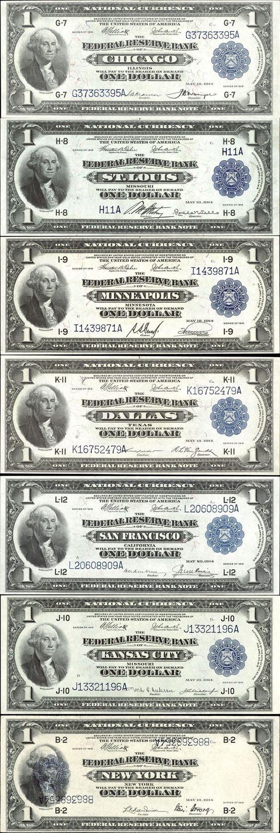 1 Dollar Note,  Series of 1918: Chicago 7-G;   St. Louis 8-H;    Minneapolis 9-I;  Dallas 11-K;  San Francisco 12-L;  Kansas City 10-J;  New York 2-B.