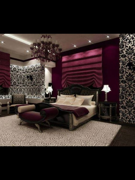 Purple romantic bedroom designs for Black and white romantic bedroom ideas