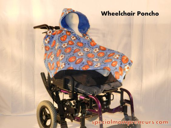 Holiday Guide: Wheelchair Poncho The Kiddo Poncho made from PoppinPonchos Ponchos for every age and ability! is made of 2 layers of plush fleece. The snap-on hood keeps your kid's neck ears and head warm and protected from the elements. Less fabric in the back allows for easy positioning and fastening in their wheelchair. This poncho has a slight V-neck which makes it easy to get on and off. http://specialmompreneurs.com