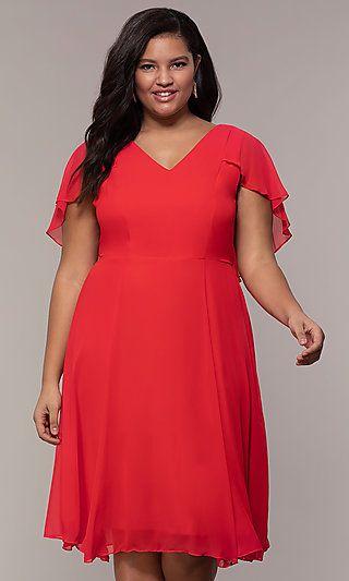 short plus size red bridesmaid dresses