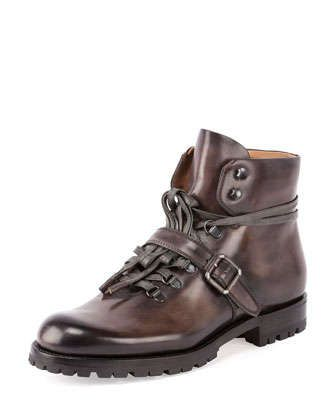 Brunico Leather Hiker Boot, Gray by Berluti at Neiman Marcus.