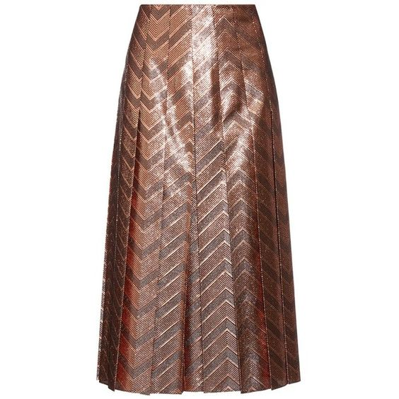 Gucci Zigzag woven pleated silk-blend skirt ($1,752) ❤ liked on Polyvore featuring skirts, copper, brown skirt, gucci, pleated skirt, knife pleated skirt and metallic skirt