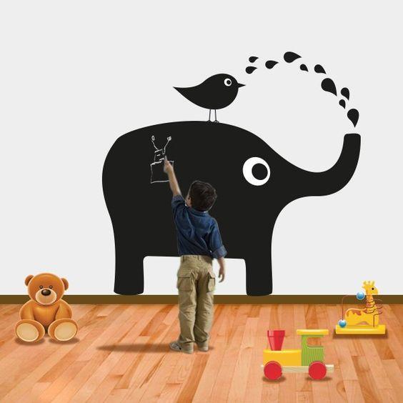 Elefante Ardosia - iconstore.pt  Em vinil autocolante decorativo ardosia.Imitação de quadro de giz para escrever, desenhar...